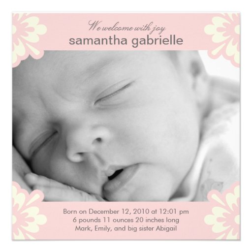 Baby Girl Birth Announcement - Floral Corners Personalized Invites