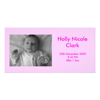 Baby Girl Birth Announcement Personalised Photo Card
