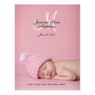 Baby Girl Birth Announcement Photo Postcards
