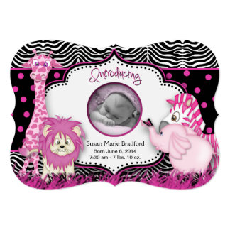 """BABY GIRL BIRTH ANNOUNCEMENTS (Baby Pink Animals) 5"""" X 7"""" Invitation Card"""