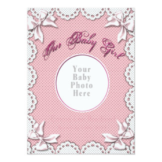 """Baby Girl Birth Notice-Insert Your Baby's Photo 5.5"""" X 7.5"""" Invitation Card"""