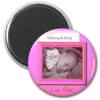 Baby Girl Birth Photo Keepsake Refrigerator Magnet