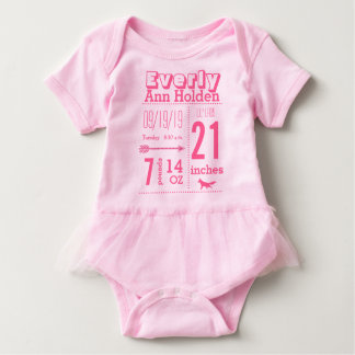Baby Girl Birth Record Fox Tutu Pink Lettering Baby Bodysuit