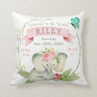 Baby Girl Birth Stats Cute Elephant Cushion