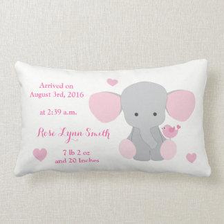 Baby Girl Birth Stats Pink Grey Elephant Chevron Lumbar Cushion