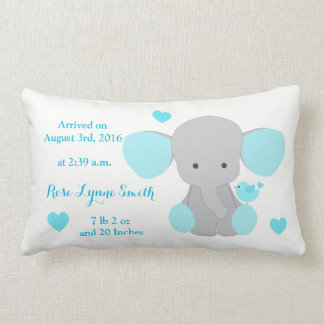 Baby Girl Birth Stats Turquoise Elephant Chevron Lumbar Pillow