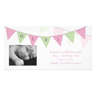 Baby Girl Birth Triangle Flags Banner Photocard Personalised Photo Card