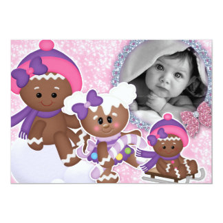 Baby Girl Birthday Party Christmas Gingerbread Card