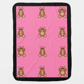 Baby girl blanket with cute teddy bears pram blankets