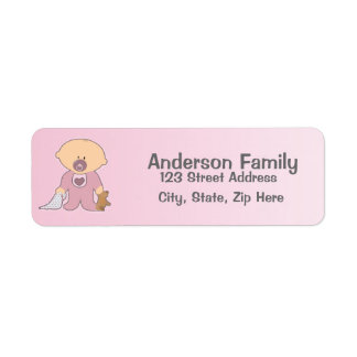 Baby Girl Blankie Pink Address Label