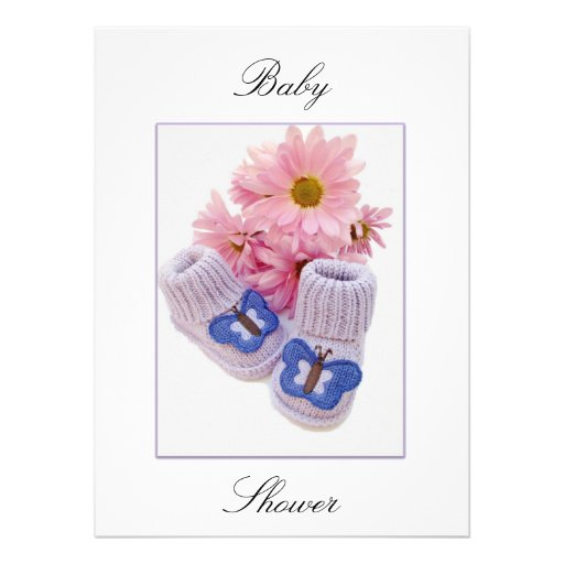 Baby girl booties shower invitations