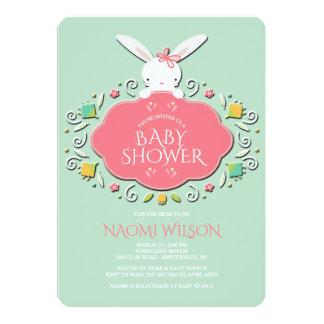 Baby Girl Bunny Shower Invitation