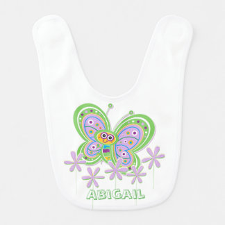 Baby Girl Butterfly Garden Custom Bib