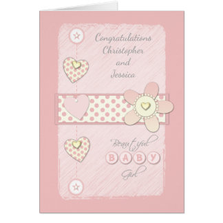 Baby Girl Card Pink - congratulations