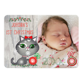 Baby Girl Cat Lover First Christmas Greeting Card 13 Cm X 18 Cm Invitation Card