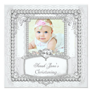Baby Girl Christening Baptism Pearl Lace 5.25x5.25 Square Paper Invitation Card