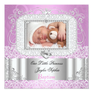 Baby Girl Christening Baptism pink purple 13 Cm X 13 Cm Square Invitation Card