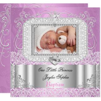 Baby Girl Christening Baptism pink purple Card