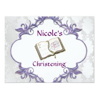 BABY GIRL CHRISTENING WHITE Damask Design Personalized Invite