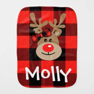 Baby Girl CHRISTMAS Burp Cloth Plaid Reindeer