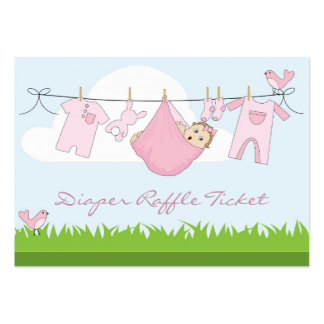 Baby Girl Clothes Line Diaper Raffle Business Card