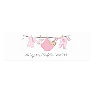 Baby Girl Clothes Line Diaper Raffle - Skinny Card Business Card