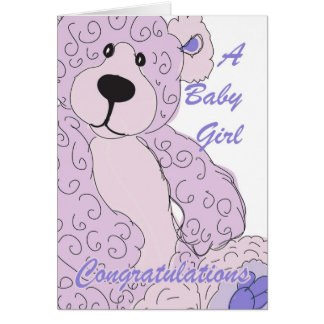 Baby Girl Congratulations Teddy Bear in Pink Greeting Card