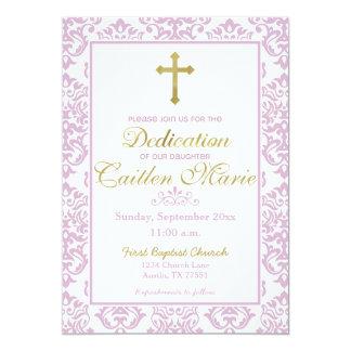Baby Girl Dedication Invitation Pink and Gold