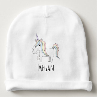 Baby Girl Doodle Magical Unicorn with Name Baby Beanie