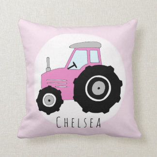 Baby Girl Doodle Pink Tractor with Name Nursery Cushion