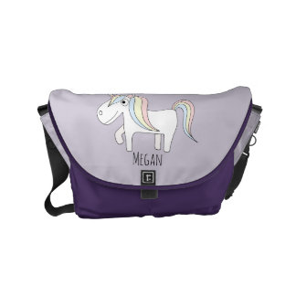 Baby Girl Doodle Unicorn & Name Diaper Bag Commuter Bags