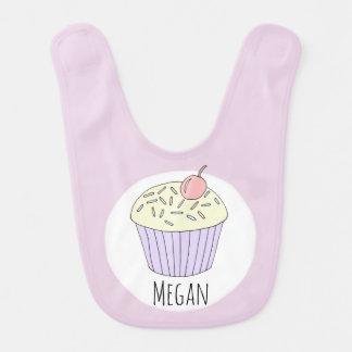 Baby Girl Doodle Whimsical Cupcake with Name Bib