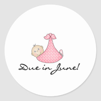 Baby Girl Due in June Classic Round Sticker