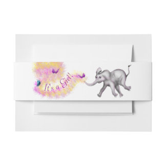 Baby Girl Elephant by The Happy Juul Company Invitation Belly Band