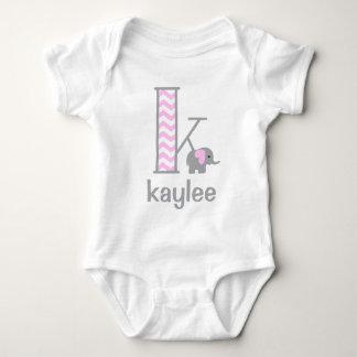 Baby Girl Elephant Pink Chevron Bodysuit Initial k