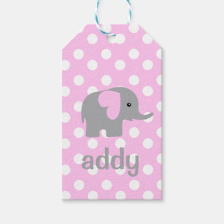 Baby Girl Elephant Pink Dotted Gift Tag Letter a