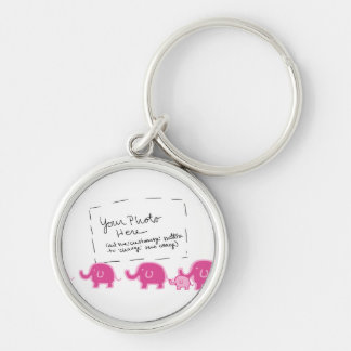 Baby girl- elephants Silver-Colored round key ring