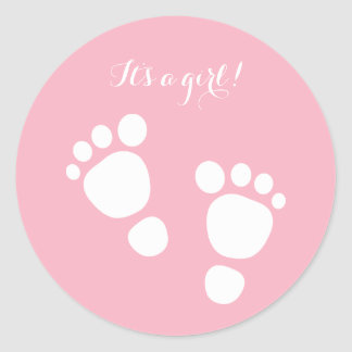 Baby girl feet white illustration it's a girl classic round sticker