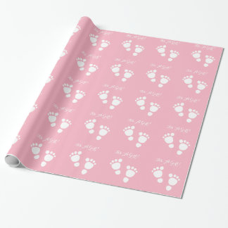 Baby girl feet white illustration it's a girl wrapping paper