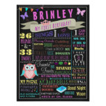 Baby Girl First Birthday Poster