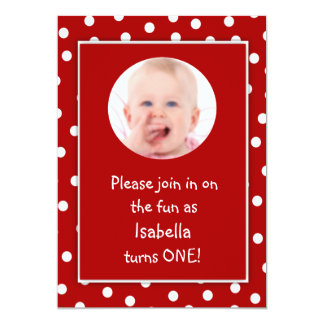 Baby Girl First Birthday Red Polka Dots Photo Card