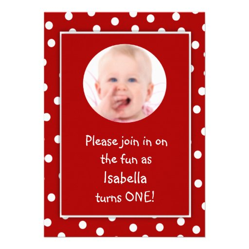 Baby Girl First Birthday Red Polka Dots Photo Custom Announcement