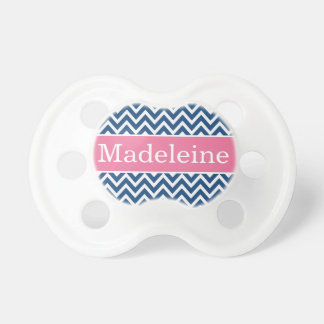 Baby Girl First Name | Pink and Navy Chevron Dummy
