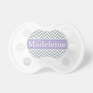 Baby Girl First Name | Purple and Gray Chevron Dummy