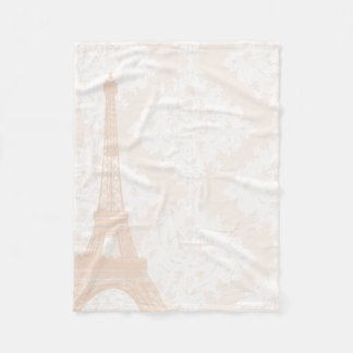 Baby Girl Floral Coral Pale Peach Eiffel Tower Fleece Blanket