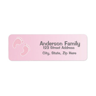 Baby Girl Foot Print Blue Address Label