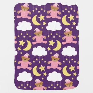 Baby Girl Gift Bear and Stars Baby Blanket