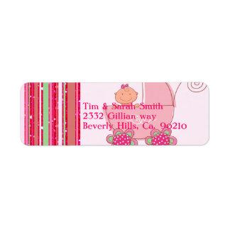 Baby Girl & Glittery Strawberry Pink Baby Shower Return Address Label