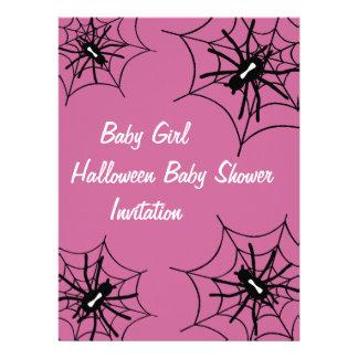 Baby Girl Halloween Baby Shower Spider Invitations