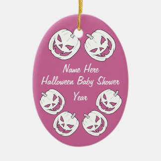 Baby Girl Halloween Pumpkin Baby Shower Ornaments